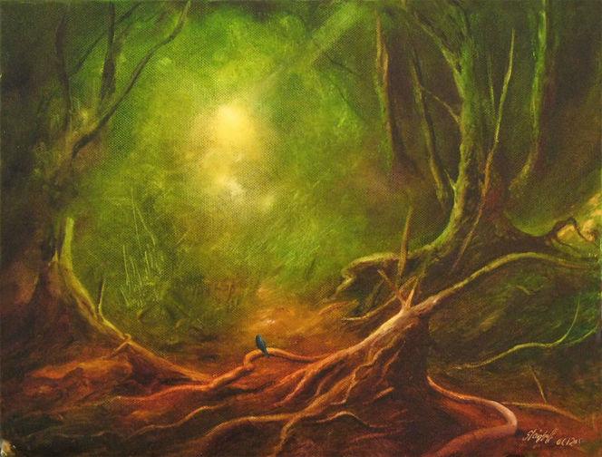 Vogel, Wald, Auwald, Landschaft, Malerei