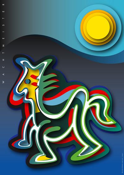 Figur, Leuchtfarbe, Formen, Grafik, Profil, Farbdruck