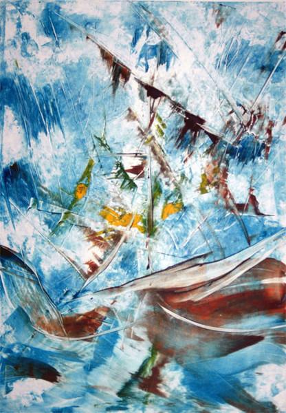 Welle, Blau, Monotypien, See, Abgewarckt, Druckgrafik