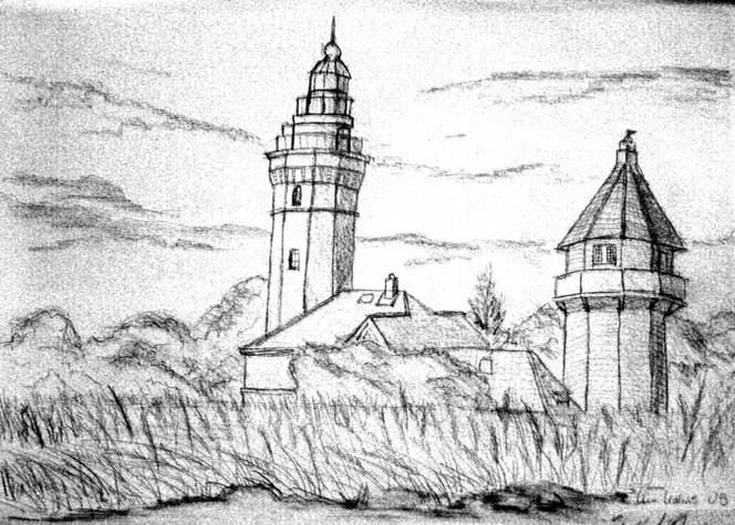Grafik, Skizze, Feld, Leuchtturm