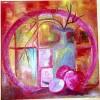 Malerei, Apfel, Kunstglas, Stillleben