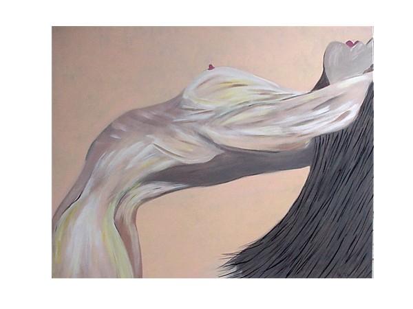 Malerei, Figural, Acrylmalerei, Akt, Gelenkig, Frau