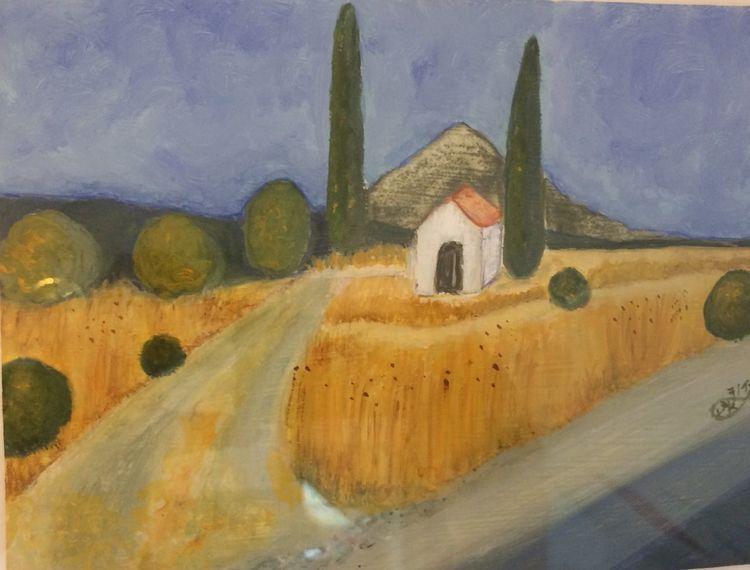 Baum, Gebäude, Rhodos, Auf dem land, Berge, Malerei