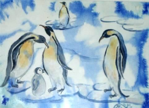 Eis, Malerei, Figural, Pinguin, Aquarell
