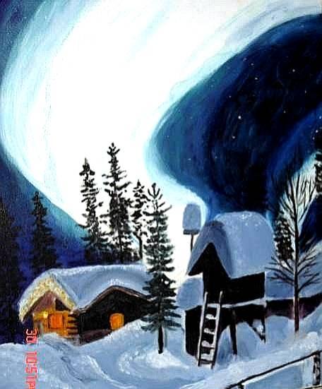 Figural, Nordlicht, Haus, Schnee, Malerei, Architektur