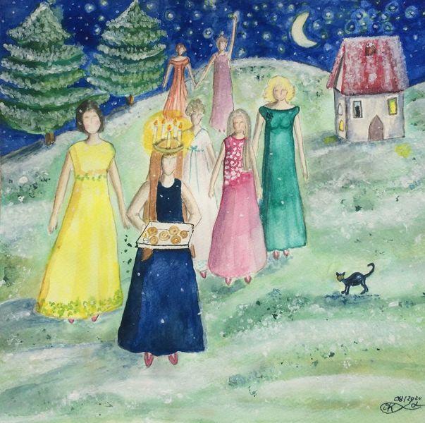Winter, Katze, Luciafest, Tanne, Schweden, Sternenhimmel