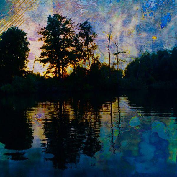 Sonne, Baum, Spiegelung, See, Abend, Mischtechnik
