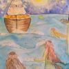 Schiff, Abend, Meerjungfrau, Gischt