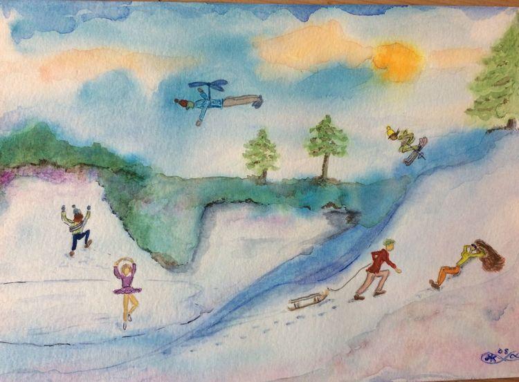 Winterfreuden, Schnee, Eis, Menschen, Aquarell