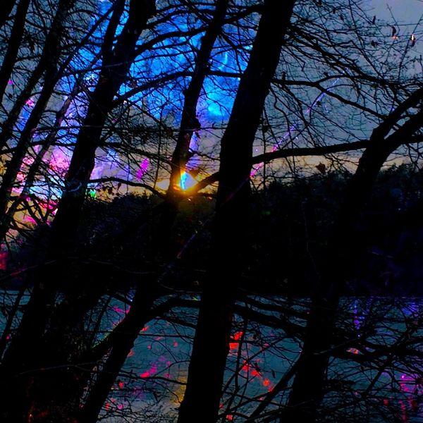 Verschattete bäume, Wasser, Lichtspiele, Sonnenuntergang, Digitale kunst, Namen