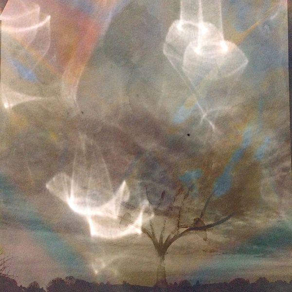 Wolken, Lichtschiffe, Baum, Erde, Digitale kunst, Mitternacht