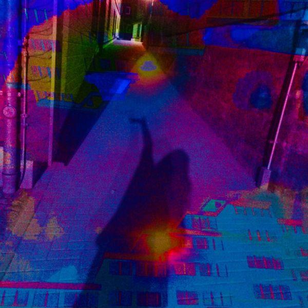 Haus, Schatten, Gasse, Mond, Farben, Mischtechnik
