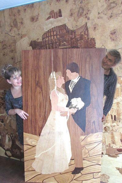 Brautpaar, Marketerie, Alles holz, Intarsienbilder, Hochzeit, Kunsthandwerk