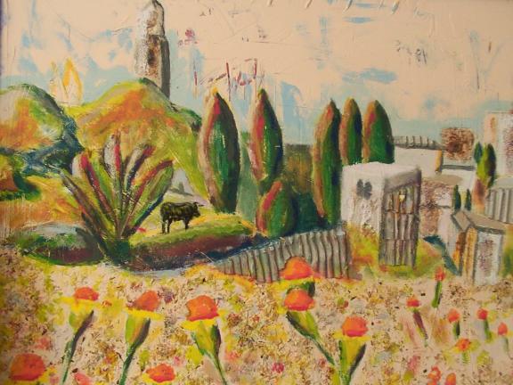 Malerei, Landschaft, Stier, Alhambra, Spanien,