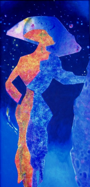 Figur, Frau, Figural, Kontrast, Silhouette, Malerei