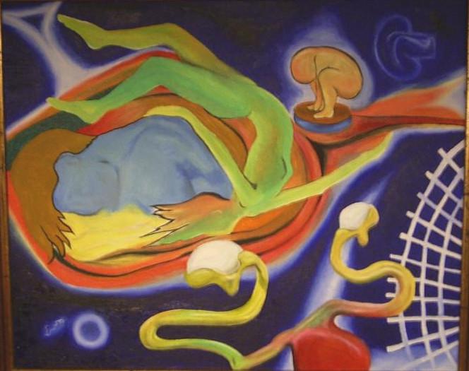 Surreal, Kind, Mutter, Malerei,