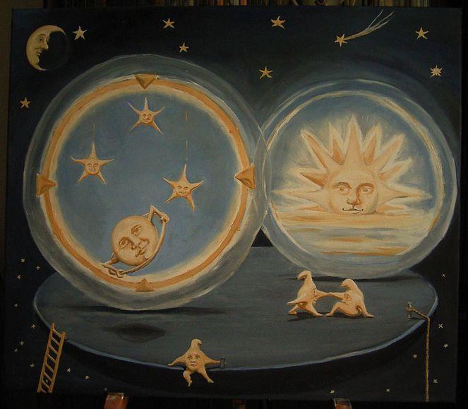 Sonne, Traumwelten, Mond, Stern, Saturn, Malerei