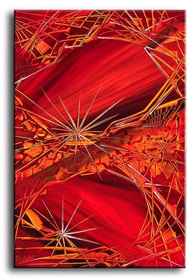 Abstrakt, Malerei, Rot, Orange, Gelb, Netzwerk