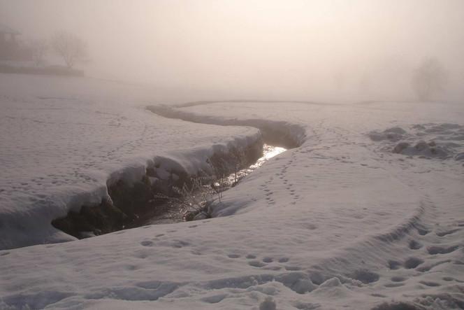 Fotografie, Sonne, Nebel, Schnee, Landschaft, Bach