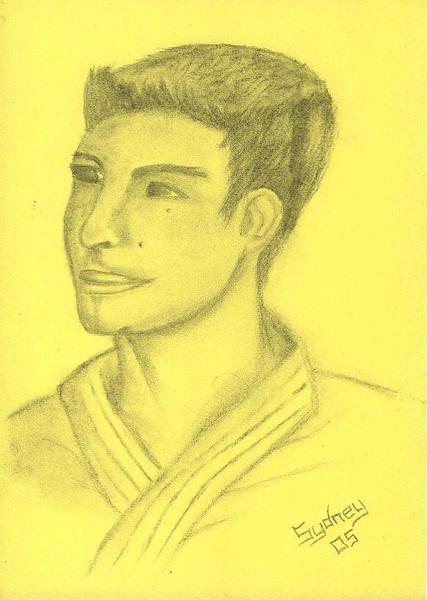 Zeichnung, Portrait, Gelb, Zeichnungen