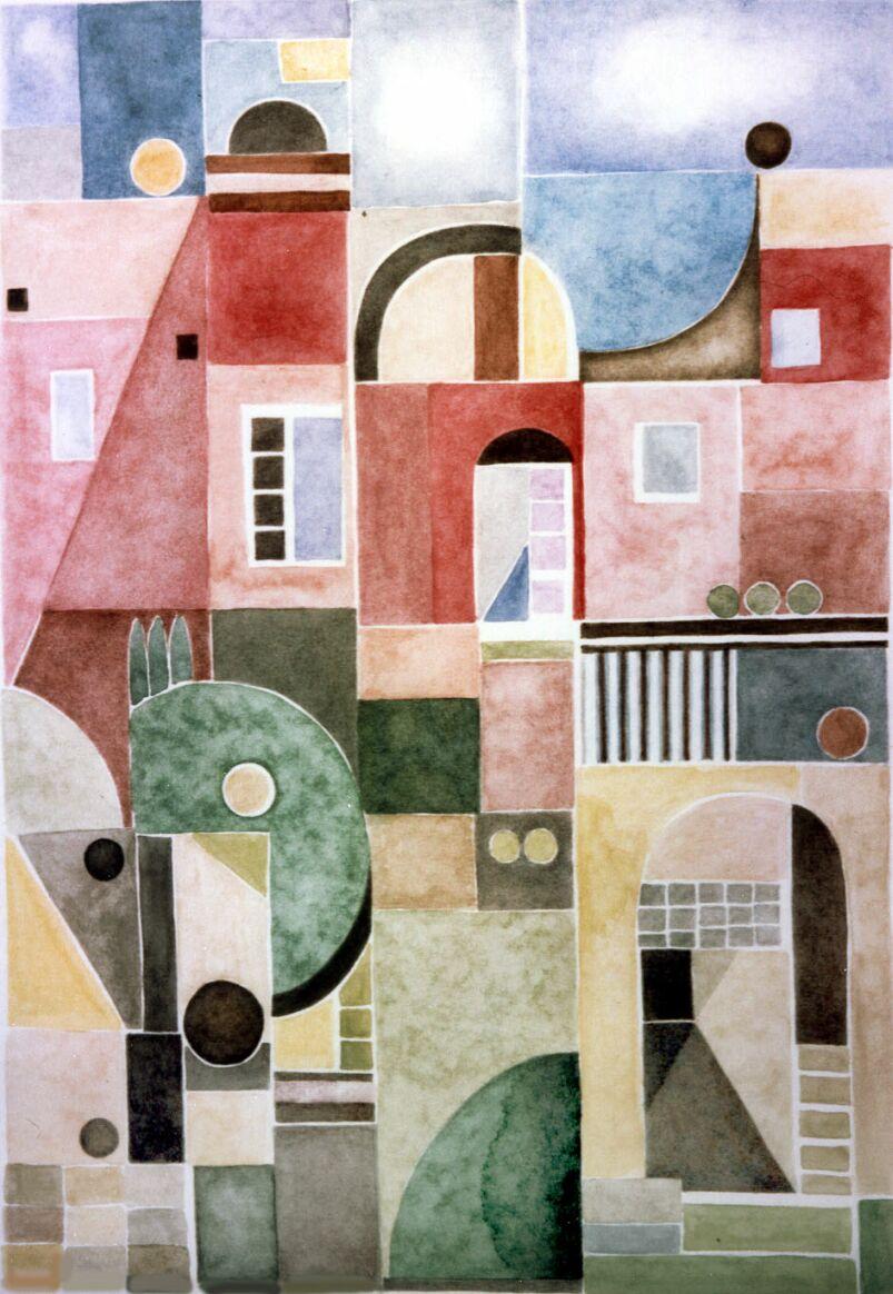 Haus, Abstrakt, Malerei, Aquarellmalerei, Rot