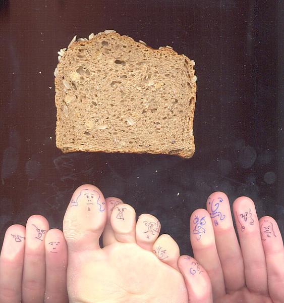 Fettflecken, Zehe, Brot, Finger, Fotografie, Stunde