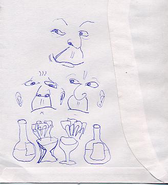 Skizze, Kneipenszene, Zeichnung, Kartenspieler, Zeichnungen
