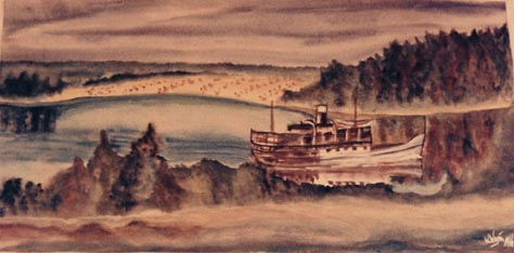 Malerei, Landschaft, See