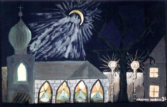 Malerei, Landschaft, Kirche