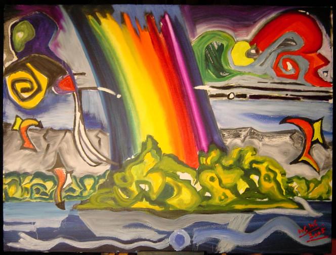 Landschaft, Malerei, Regenbogen