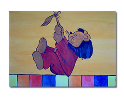 Kinder, Kind, Löwe, Malerei, Kinderzimmer, Ölmalerei