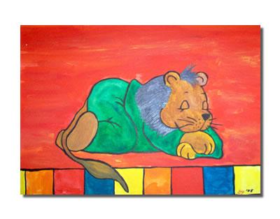 Kinder, Kind, Löwe, Kinderzimmer, Malerei, Tiere