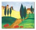Mohn, Landschaft, Toskana, Malerei