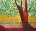 Sonne, Malerei, Blätter, Baum