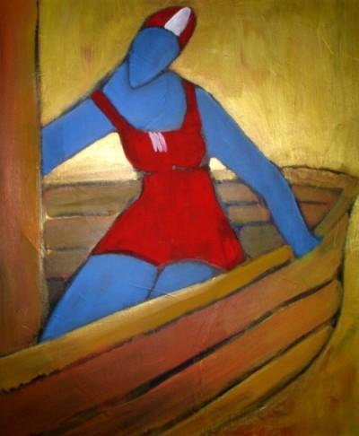 Frau, Malerei, Figural, Boot, Wasser, Sommer