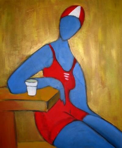 Warm, Blau, Becher, Malerei, Wasser, Frau
