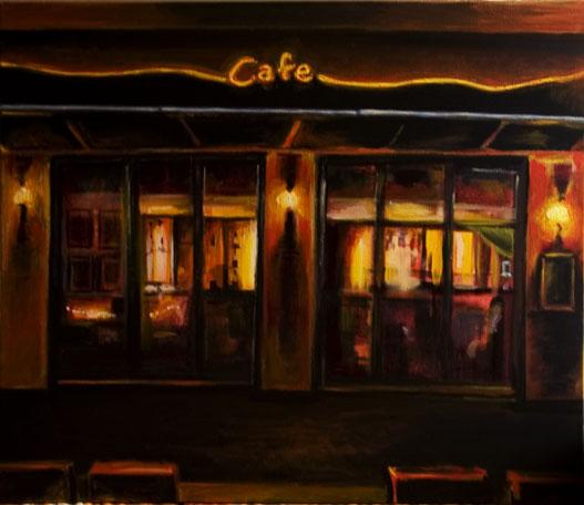 Café, Kopernikusplatz, Darmstadt, Abend, Malerei