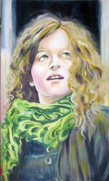 Blick, Frau, Schal, Malerei, Figural, Grün