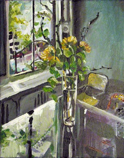 Vase, Tisch, Blau, Blumen, Erinnerung, Sonnenblumen