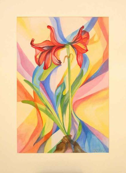 Grafik, Lasurtechnik, Blumen, Aquarellmalerei, Aquarell, Aquarelle grafik
