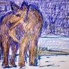Tiere, Landschaft, Zeichnungen, Wolf