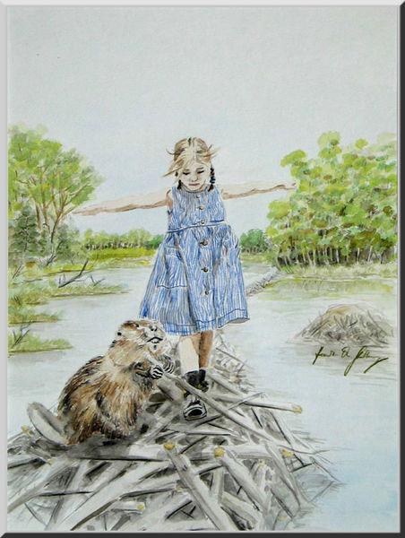 Mädchen, Kinderbuch, Kind, Biber, Wasser, Aquarellmalerei