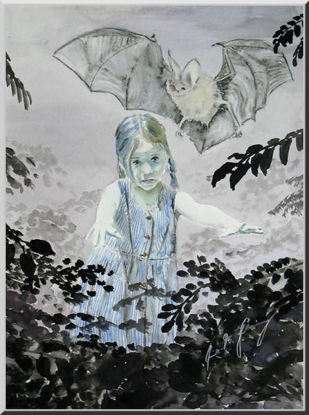 Mädchen, Fledermaus, Märchen, Dunkel, Figural, Wald