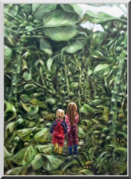 Verlaufen, Kinder, Acrylmalerei, Airbrush, Junge, Garten