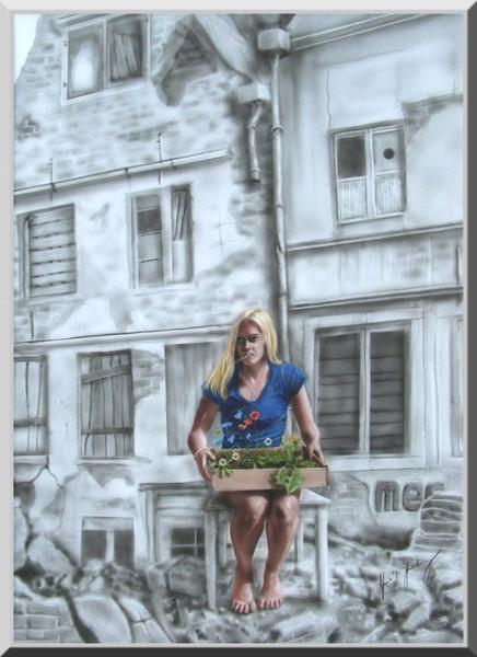 der kleine garten frau airbrush ruine malerei von frank m stahlberg bei kunstnet. Black Bedroom Furniture Sets. Home Design Ideas