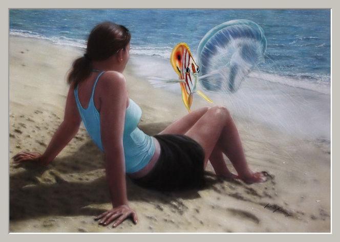 Sonne, Aquarellmalerei, Wasser, Fisch, Gefahr, Frau