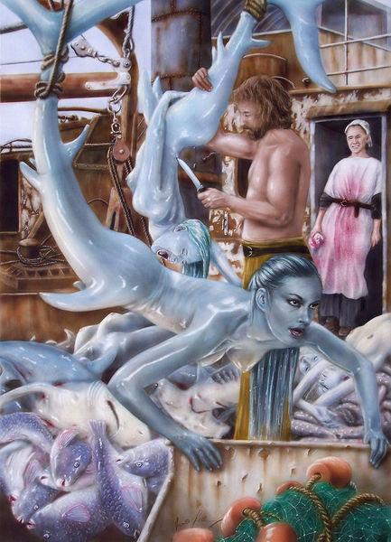 Jagd, Fisch, Gleichgültig, Aquarellmalerei, Wal, Grausam