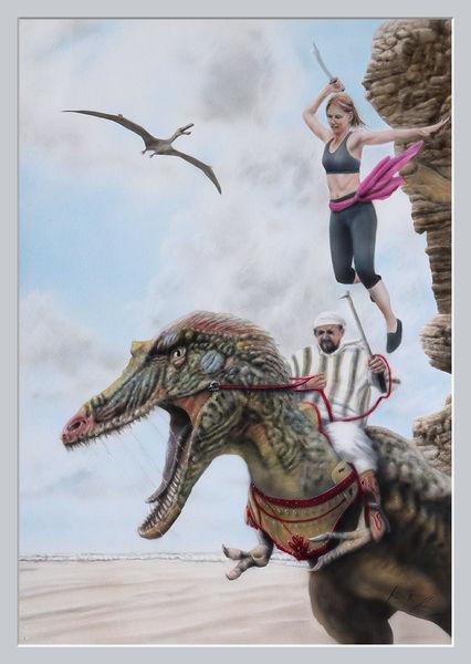 Frau, Amazone, Prinzessin, Kampf, Airbrush, Dinosaurier