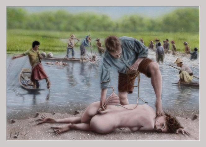 Zakhyte, Aquarellmalerei, Fischer, Wasser, Netz, Sumpf