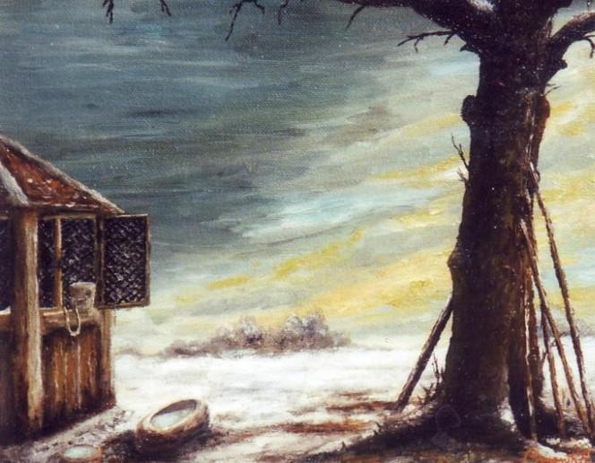 Schnee, Malerei, Baum, Himmel, Landschaft, Brunnen